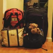 Two duffles, one backpack, one tote, and a well-travelled bear